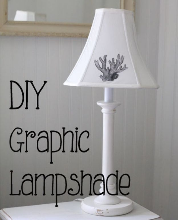 DIY Shabby Chic Decor Ideas - DIY Graphic Lampshade - French Farmhouse and Vintage White Linens - Bedroom, Living Room, Bathroom Ideas, Distressed Furniture and Boho Crafts - Cheap Dollar Store Projects and Upcycle Repurposed Home Decor #diyideas #shabbychic #diyhomedecor