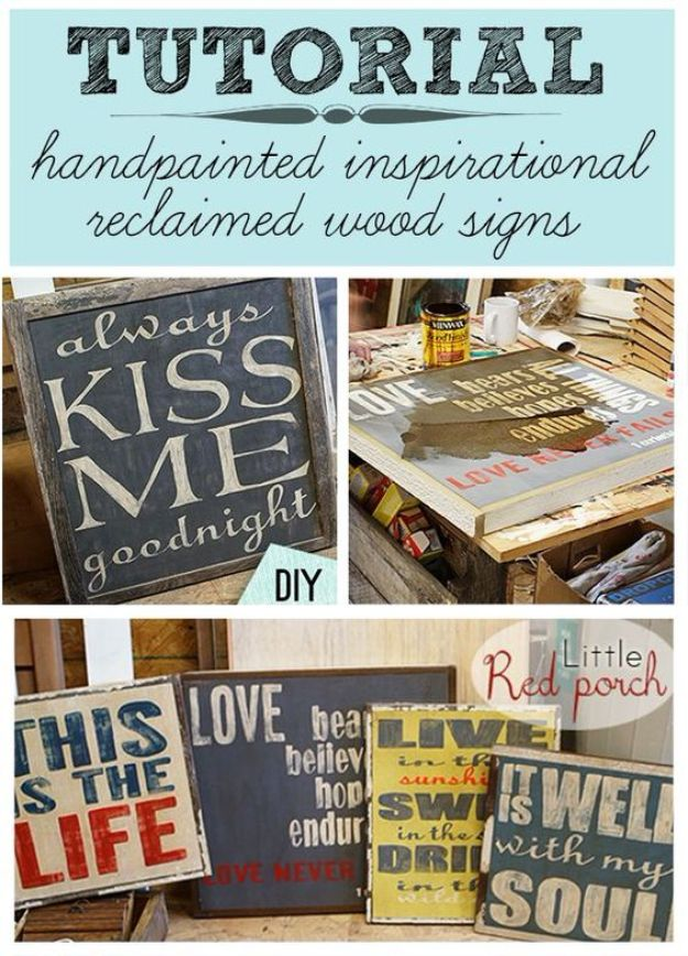DIY Vintage Signs - DIY Handpainted From Reclaimed Wood Signs - Rustic, Vintage Sign Projects to Make At Home - Creative Home Decor on a Budget and Cheap Crafts for Living Room, Bedroom and Kitchen - Paint Letters, Transfer to Wood, Aged Finishes and Fun Word Stencils and Easy Ideas for Farmhouse Wall Art http://diyjoy.com/diy-vintage-signs