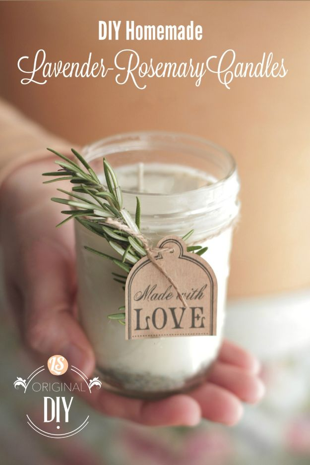 DIY Essential Oil Recipes and Ideas - DIY Homemade Lavender-Rosemary Candles - Cool Recipes, Crafts and Home Decor to Make With Essential Oil - Diffuser Projects, Roll On Prodicts for Skin - Recipe Tutorials for Cleaning, Colds, For Sleep, For Hair, For Paint, For Weight Loss http://diyjoy.com/diy-ideas-essential-oils