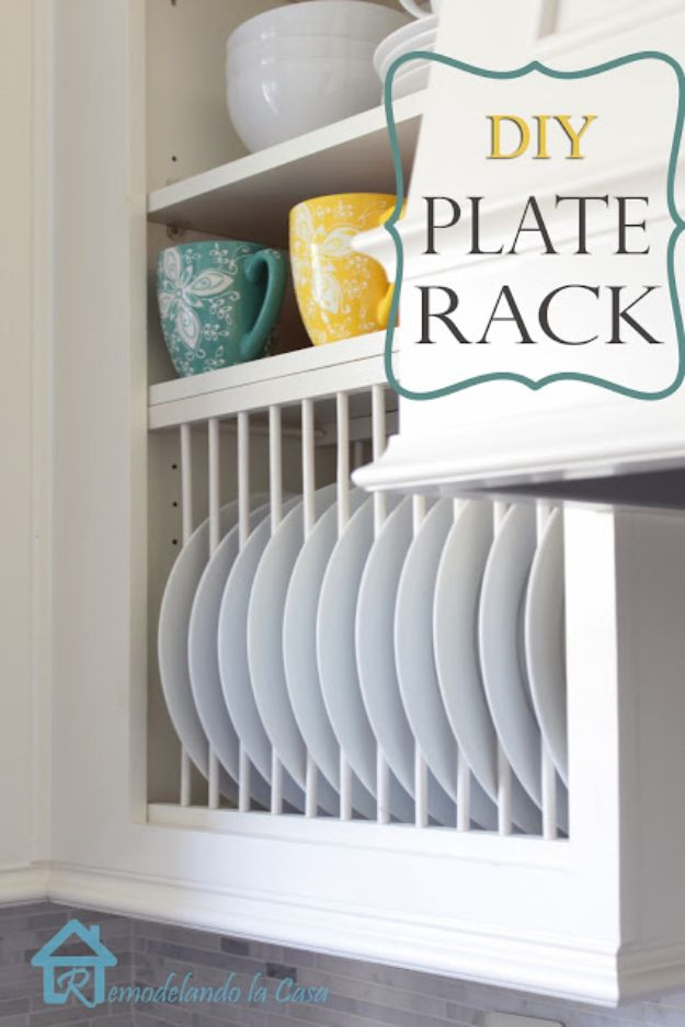 DIY Kitchen Cabinet Ideas - DIY Inside Cabinet Plate Rack - Makeover and Before and After - How To Build, Plan and Renovate Your Kitchen Cabinets - Painted, Cheap Refact, Free Plans, Rustic Decor, Farmhouse and Vintage Looks, Modern Design and Inexpensive Budget Friendly Projects