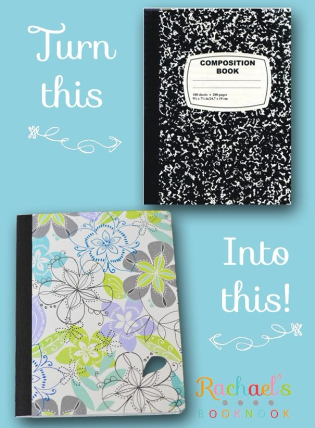 DIY Journals - DIY Journal Out of Composition Notebook - Ideas For Making A Handmade Journal - Cover Art Tutorial, Binding Tips, Easy Craft Ideas for Kids and For Teens - Step By Step Instructions for Making From Scratch, From An Old Book - Leather, Faux Marble, Paper, Monogram, Cute Do It Yourself Gift Idea http://diyjoy.com/diy-journals