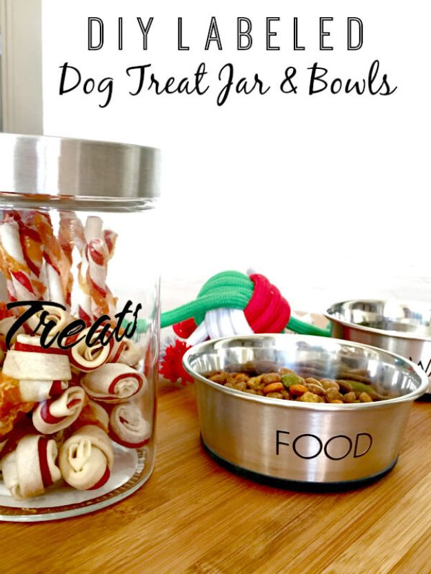 DIY Pet Bowls And Feeding Stations - DIY Labeled Treat Jar And Bowls - Easy Ideas for Serving Dog and Cat Food, Ways to Raise and Store Bowls - Organize Your Dog Food and Water Bowl With These Cute and Creative Ideas for Dogs and Cats- Monogram, Painted, Personalized and Rustic Crafts and Projects http://diyjoy.com/diy-pet-bowls-feeding-station