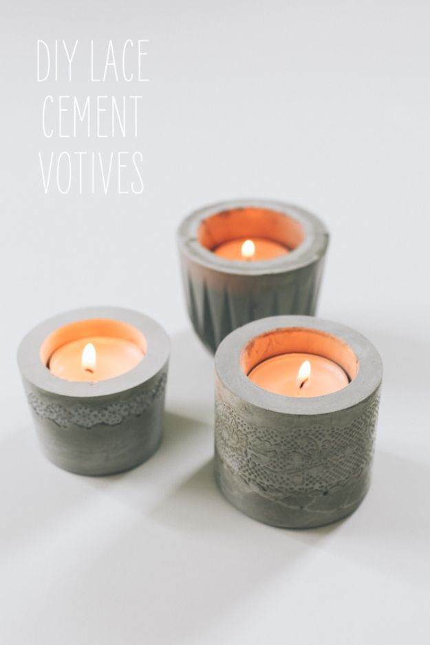 DIY Candle Holders - DIY Lace Cement Votives - Easy Ideas for Home Decor With Candles, Tall Candlesticks and Votives - Fun Wooden, Rustic, Glass, Mason Jar, Boho and Projects With Items From Dollar Stores - Christmas, Holiday and Wedding Centerpieces - Cool Crafts and Homemade Cheap Gifts http://diyjoy.com/diy-candle-holders