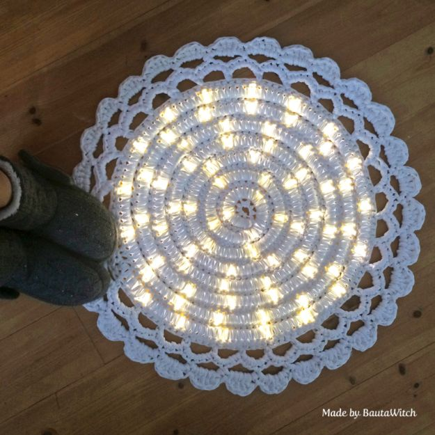 DIY Rugs - DIY Lighted Rug - Ideas for An Easy Handmade Rug for Living Room, Bedroom, Kitchen Mat and Cheap Area Rugs You Can Make - Stencil Art Tutorial, Painting Tips, Fabric, Yarn, Old Denim Jeans, Rope, Tshirt, Pom Pom, Fur, Crochet, Woven and Outdoor Projects - Large and Small Carpet #diyrugs #diyhomedecor