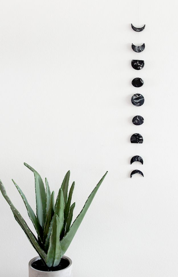 DIY Wall Hangings - DIY Marble Moon Phase Wall Hanging - Easy Yarn Projects , Macrame Ideas , Fabric Tapestry and Paper Arts and Crafts , Planter and Wood Board Ideas for Bedroom and Living Room Decor - Cute Mobile and Wall Hanging for Nursery and Kids Rooms http://diyjoy.com/diy-wall-hangings