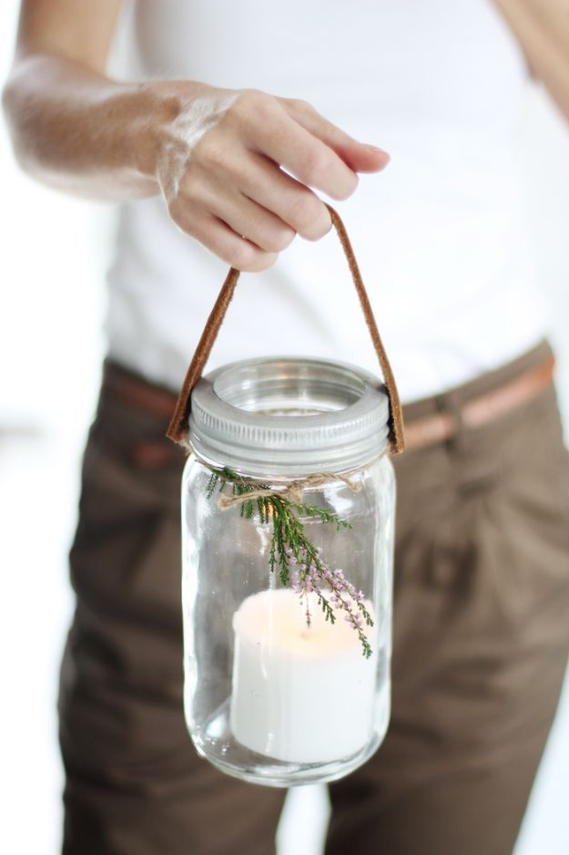 DIY Candle Holders - DIY Mason Jar Candle Holder - Easy Ideas for Home Decor With Candles, Tall Candlesticks and Votives - Fun Wooden, Rustic, Glass, Mason Jar, Boho and Projects With Items From Dollar Stores - Christmas, Holiday and Wedding Centerpieces - Cool Crafts and Homemade Cheap Gifts http://diyjoy.com/diy-candle-holders