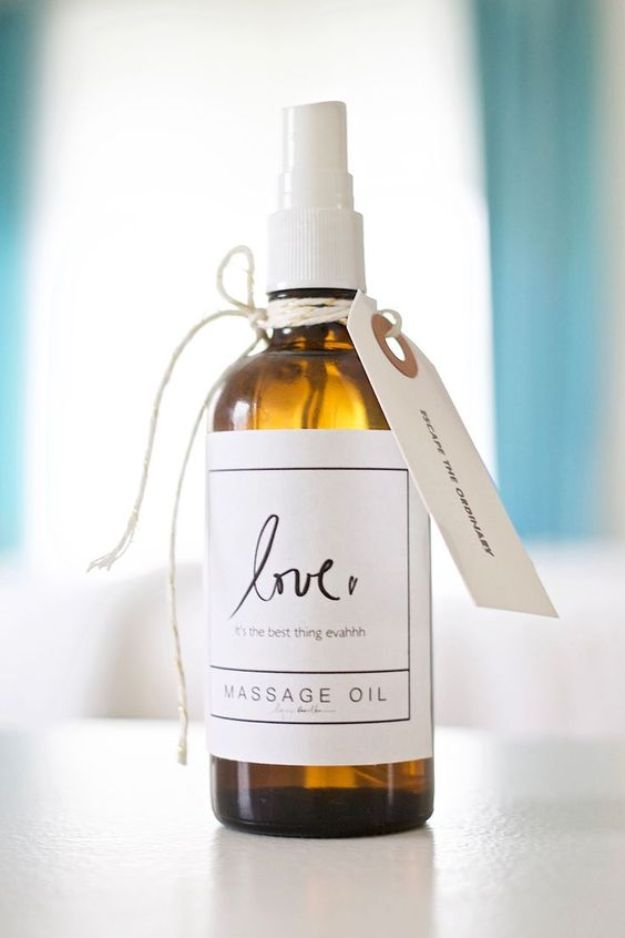 DIY Essential Oil Recipes and Ideas - DIY Massage Oil - Cool Recipes, Crafts and Home Decor to Make With Essential Oil - Diffuser Projects, Roll On Prodicts for Skin - Recipe Tutorials for Cleaning, Colds, For Sleep, For Hair, For Paint, For Weight Loss #crafts #diy #essentialoils