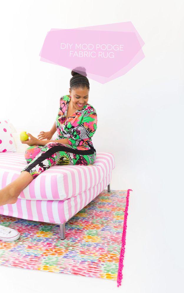 Creative DIY Rugs - Cheap Room Decor Ideas - DIY Mod Podge Fabric Rug Tutorial