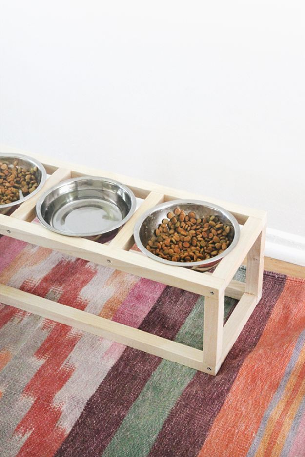 DIY Pet Bowls And Feeding Stations - DIY Modern Pet Bowl - Easy Ideas for Serving Dog and Cat Food, Ways to Raise and Store Bowls - Organize Your Dog Food and Water Bowl With These Cute and Creative Ideas for Dogs and Cats- Monogram, Painted, Personalized and Rustic Crafts and Projects http://diyjoy.com/diy-pet-bowls-feeding-station