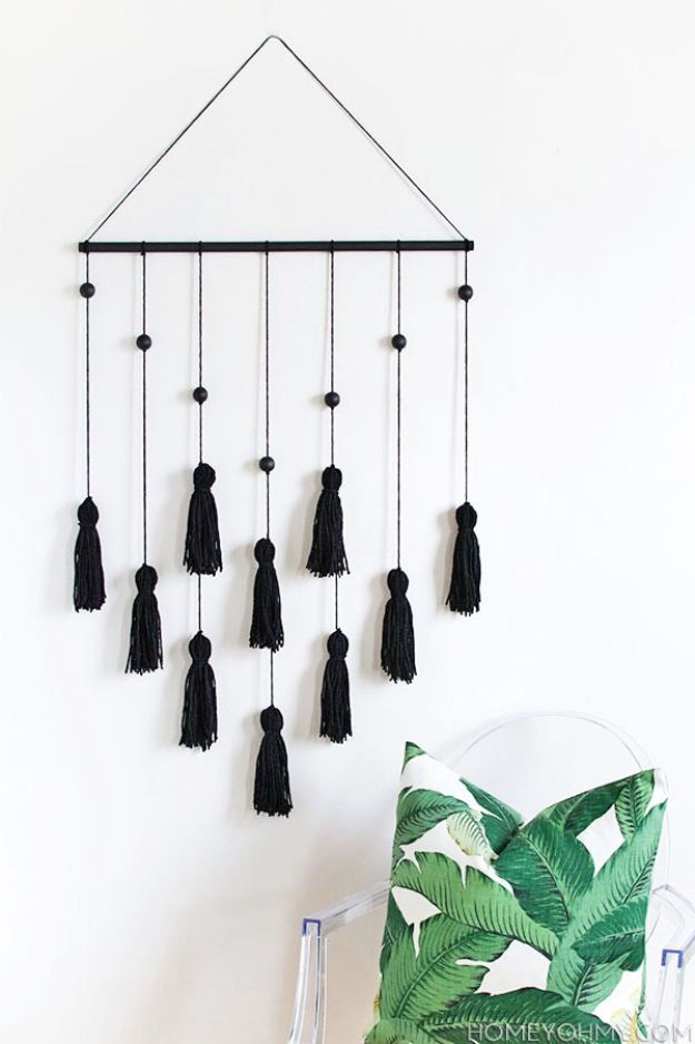 DIY Wall Hangings - DIY Modern Tassel Wall Hanging - Easy Yarn Projects , Macrame Ideas , Fabric Tapestry and Paper Arts and Crafts , Planter and Wood Board Ideas for Bedroom and Living Room Decor - Cute Mobile and Wall Hanging for Nursery and Kids Rooms #wallart #diy #roomdecor