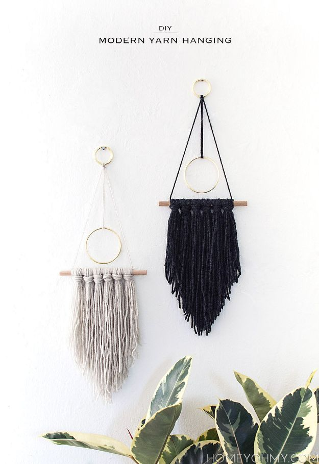 DIY Wall Hangings - DIY Modern Yarn Hanging - Easy Yarn Projects , Macrame Ideas , Fabric Tapestry and Paper Arts and Crafts , Planter and Wood Board Ideas for Bedroom and Living Room Decor - Cute Mobile and Wall Hanging for Nursery and Kids Rooms http://diyjoy.com/diy-wall-hangings