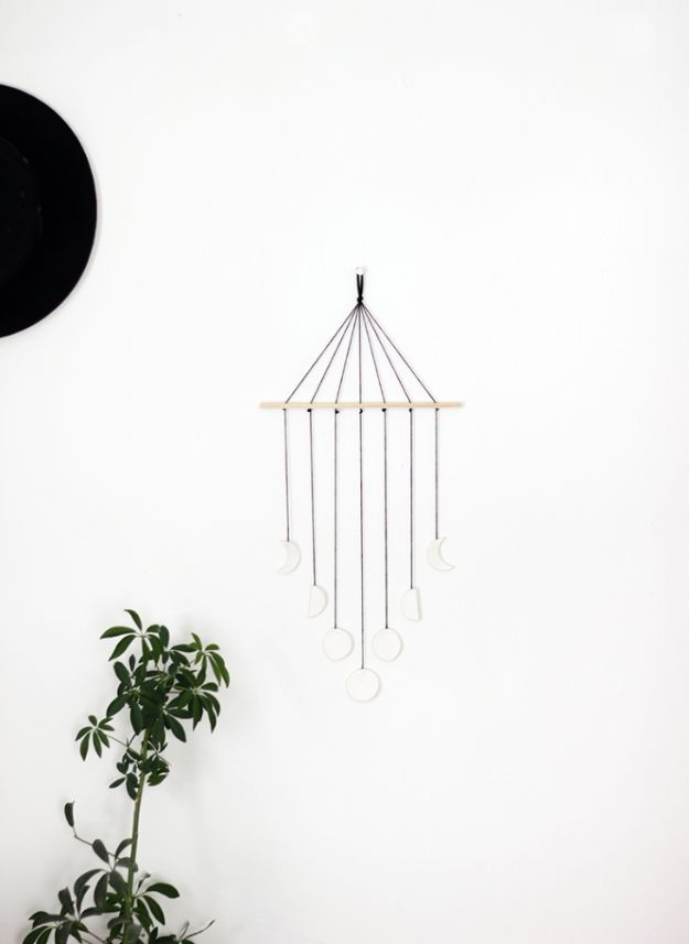 DIY Wall Hangings - DIY Moon Phase Wall Mobile - Easy Yarn Projects , Macrame Ideas , Fabric Tapestry and Paper Arts and Crafts , Planter and Wood Board Ideas for Bedroom and Living Room Decor - Cute Mobile and Wall Hanging for Nursery and Kids Rooms http://diyjoy.com/diy-wall-hangings