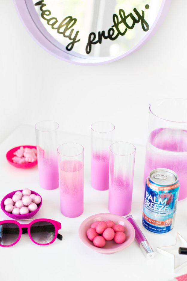 DIY Glassware - DIY Ombre Glassware - Cool Bar and Drink Glasses You Can Make and Decorate for Creative and Unique Serving Glass Ideas - Mugs, Cups, Decanters, Pitchers and Glass Ware Projects - Paint, Etch, Etching Tutorials, Dotted, Sharpie Art and Dishwasher Safe Decorating Tips - Easy DIY Gift Ideas for Him and Her - Handmade Home Decor DIY http://diyjoy.com/diy-glassware