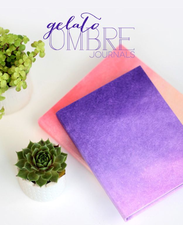 DIY Journals - DIY Ombre Journals - Ideas For Making A Handmade Journal - Cover Art Tutorial, Binding Tips, Easy Craft Ideas for Kids and For Teens - Step By Step Instructions for Making From Scratch, From An Old Book - Leather, Faux Marble, Paper, Monogram, Cute Do It Yourself Gift Idea http://diyjoy.com/diy-journals