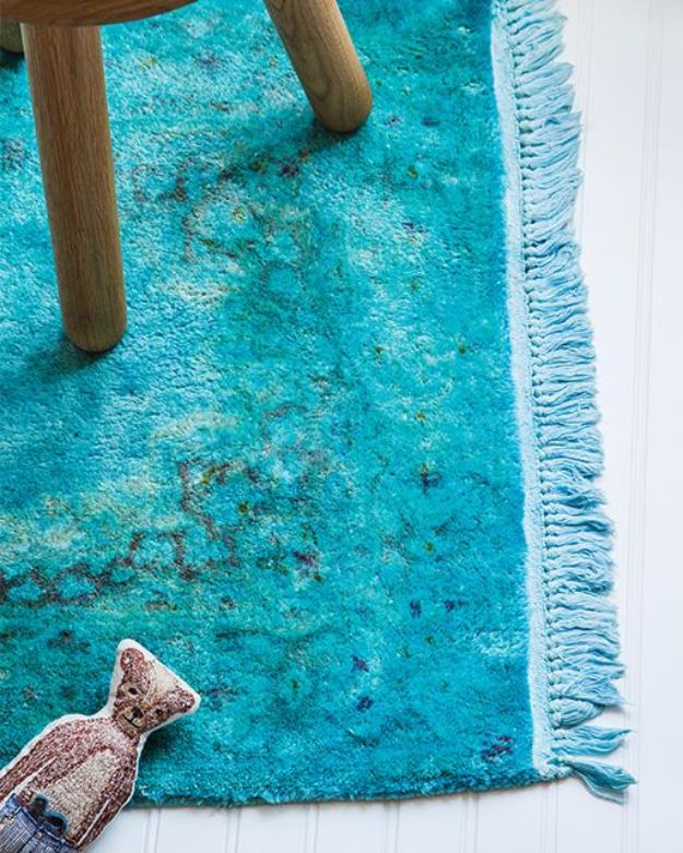 DIY Rugs - DIY Overdyed Rug - Ideas for An Easy Handmade Rug for Living Room, Bedroom, Kitchen Mat and Cheap Area Rugs You Can Make - Stencil Art Tutorial, Painting Tips, Fabric, Yarn, Old Denim Jeans, Rope, Tshirt, Pom Pom, Fur, Crochet, Woven and Outdoor Projects - Large and Small Carpet #diyrugs #diyhomedecor