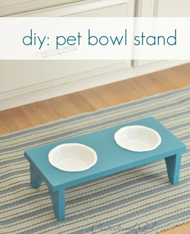 DIY Pet Bowls And Feeding Stations - DIY Pet Bowl Stand - Easy Ideas for Serving Dog and Cat Food, Ways to Raise and Store Bowls - Organize Your Dog Food and Water Bowl With These Cute and Creative Ideas for Dogs and Cats- Monogram, Painted, Personalized and Rustic Crafts and Projects http://diyjoy.com/diy-pet-bowls-feeding-station
