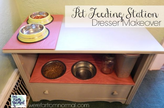 DIY Pet Bowls And Feeding Stations - DIY Pet Feeding Station Dresser Makeover - Easy Ideas for Serving Dog and Cat Food, Ways to Raise and Store Bowls - Organize Your Dog Food and Water Bowl With These Cute and Creative Ideas for Dogs and Cats- Monogram, Painted, Personalized and Rustic Crafts and Projects http://diyjoy.com/diy-pet-bowls-feeding-station