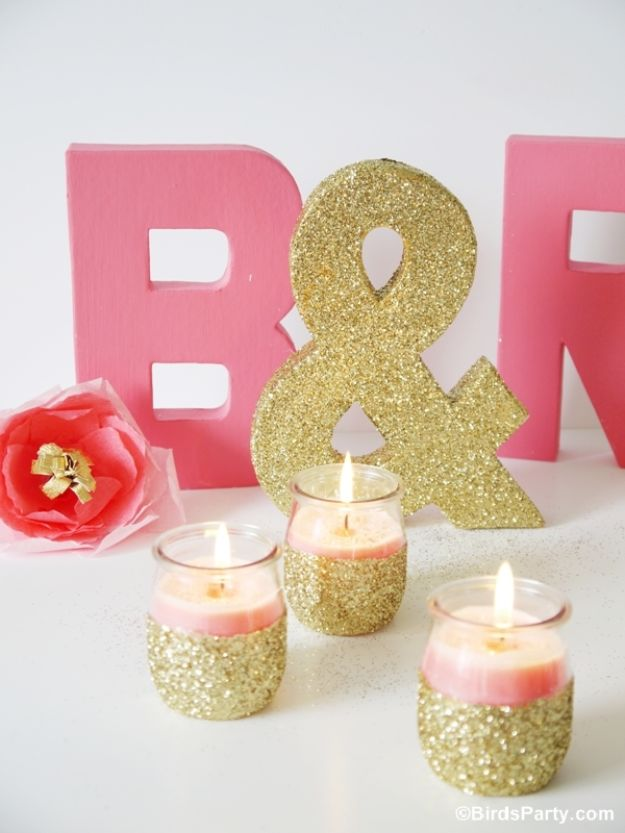 DIY Candle Holders - DIY Pink Candles and Glitter Candle Holders - Easy Ideas for Home Decor With Candles, Tall Candlesticks and Votives - Fun Wooden, Rustic, Glass, Mason Jar, Boho and Projects With Items From Dollar Stores - Christmas, Holiday and Wedding Centerpieces - Cool Crafts and Homemade Cheap Gifts http://diyjoy.com/diy-candle-holders