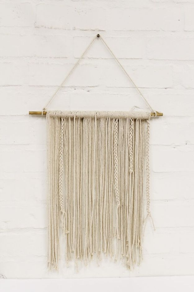DIY Wall Hangings - DIY Plaited Wall Hanging - Easy Yarn Projects , Macrame Ideas , Fabric Tapestry and Paper Arts and Crafts , Planter and Wood Board Ideas for Bedroom and Living Room Decor - Cute Mobile and Wall Hanging for Nursery and Kids Rooms http://diyjoy.com/diy-wall-hangings