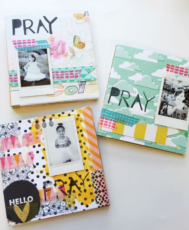 DIY Journals - DIY Prayer Journal - Ideas For Making A Handmade Journal - Cover Art Tutorial, Binding Tips, Easy Craft Ideas for Kids and For Teens - Step By Step Instructions for Making From Scratch, From An Old Book - Leather, Faux Marble, Paper, Monogram, Cute Do It Yourself Gift Idea http://diyjoy.com/diy-journals