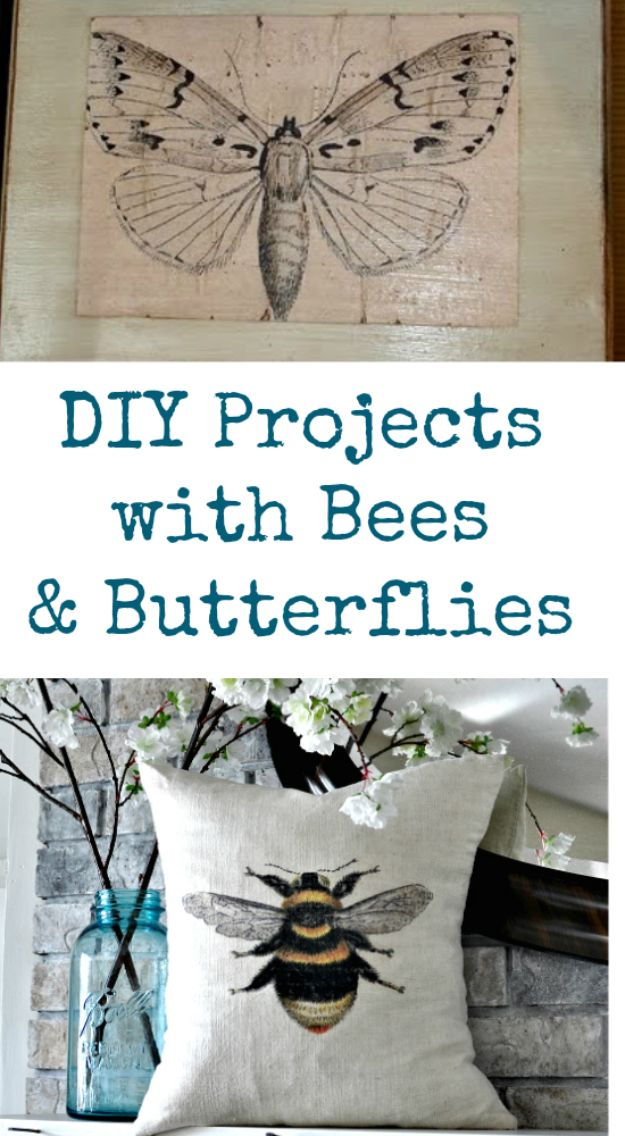 DIY Shabby Chic Decor Ideas - DIY Projects With Bees & Butterflies - French Farmhouse and Vintage White Linens - Bedroom, Living Room, Bathroom Ideas, Distressed Furniture and Boho Crafts - Cheap Dollar Store Projects and Upcycle Repurposed Home Decor #diyideas #shabbychic #diyhomedecor