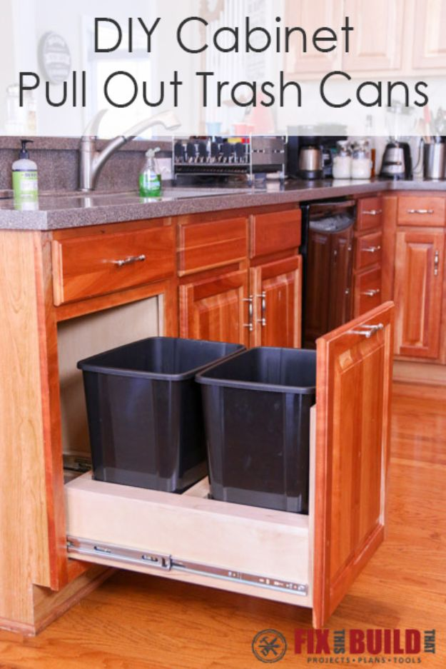 DIY Kitchen Cabinet Ideas - DIY Pull Out Trash Can - Makeover and Before and After - How To Build, Plan and Renovate Your Kitchen Cabinets - Painted, Cheap Refact, Free Plans, Rustic Decor, Farmhouse and Vintage Looks, Modern Design and Inexpensive Budget Friendly Projects
