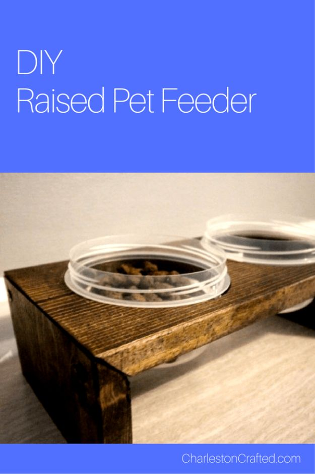 DIY Pet Bowls And Feeding Stations - DIY Raised Pet Feeding Station - Easy Ideas for Serving Dog and Cat Food, Ways to Raise and Store Bowls - Organize Your Dog Food and Water Bowl With These Cute and Creative Ideas for Dogs and Cats- Monogram, Painted, Personalized and Rustic Crafts and Projects http://diyjoy.com/diy-pet-bowls-feeding-station