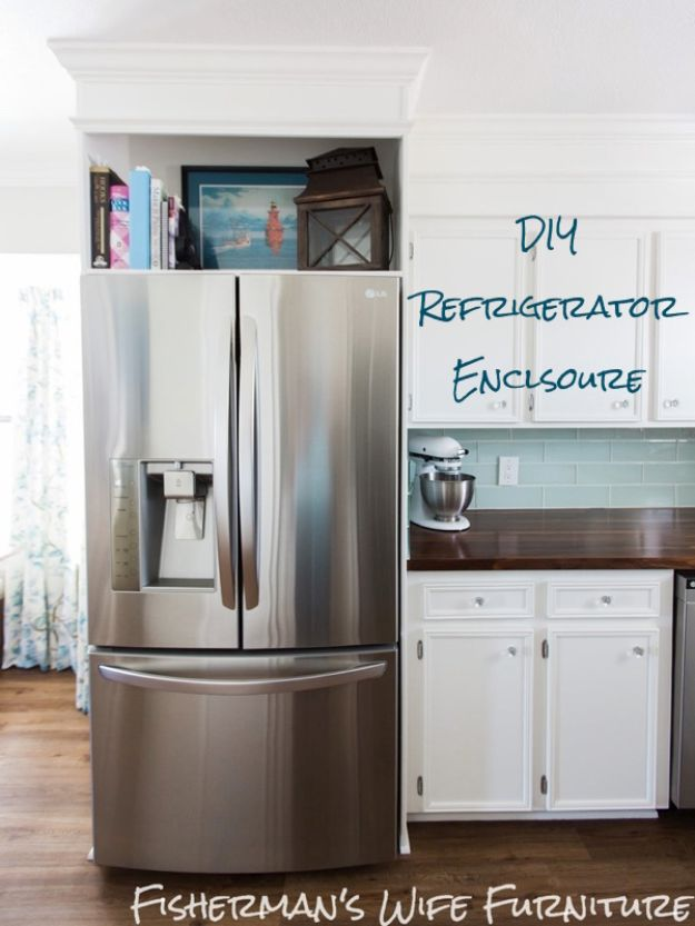 DIY Kitchen Cabinet Ideas - DIY Refrigerator Enclosure - Makeover and Before and After - How To Build, Plan and Renovate Your Kitchen Cabinets - Painted, Cheap Refact, Free Plans, Rustic Decor, Farmhouse and Vintage Looks, Modern Design and Inexpensive Budget Friendly Projects
