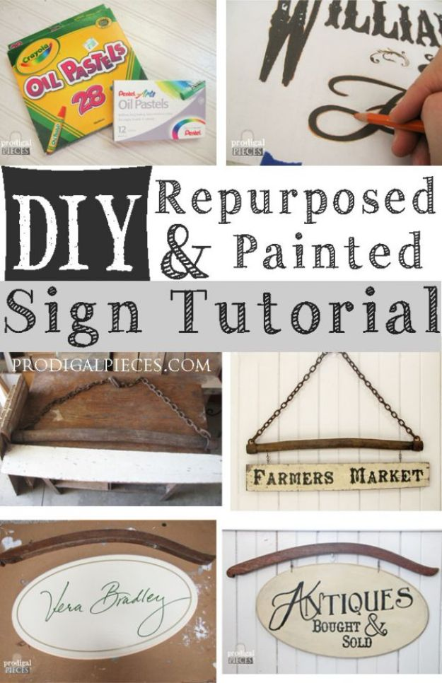 DIY Vintage Signs - DIY Repurposed Sign - Rustic, Vintage Sign Projects to Make At Home - Creative Home Decor on a Budget and Cheap Crafts for Living Room, Bedroom and Kitchen - Paint Letters, Transfer to Wood, Aged Finishes and Fun Word Stencils and Easy Ideas for Farmhouse Wall Art http://diyjoy.com/diy-vintage-signs