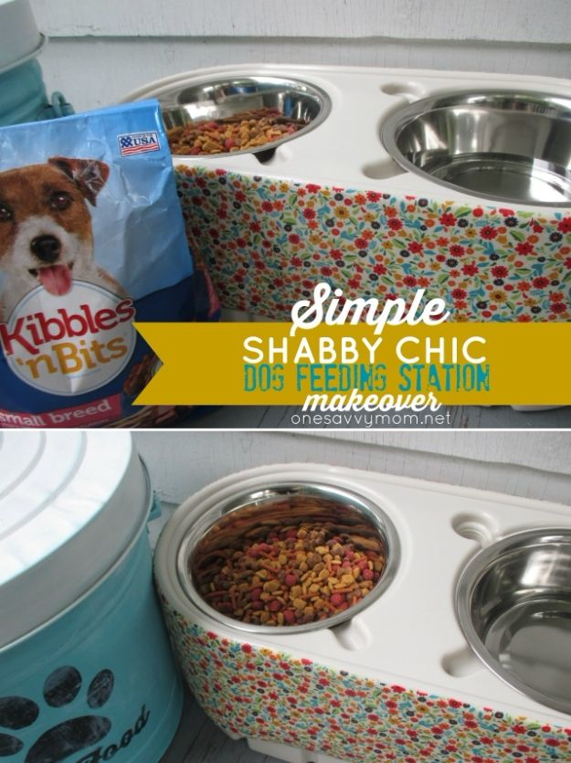 DIY Pet Bowls And Feeding Stations - DIY Shabby Chic Dog Feeding Station - Easy Ideas for Serving Dog and Cat Food, Ways to Raise and Store Bowls - Organize Your Dog Food and Water Bowl With These Cute and Creative Ideas for Dogs and Cats- Monogram, Painted, Personalized and Rustic Crafts and Projects http://diyjoy.com/diy-pet-bowls-feeding-station