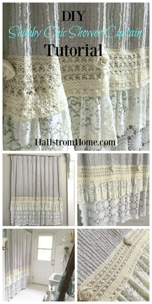 DIY Shabby Chic Decor Ideas - DIY Shabby Chic Shower Curtain - French Farmhouse and Vintage White Linens - Bedroom, Living Room, Bathroom Ideas, Distressed Furniture and Boho Crafts - Cheap Dollar Store Projects and Upcycle Repurposed Home Decor #diyideas #shabbychic #diyhomedecor