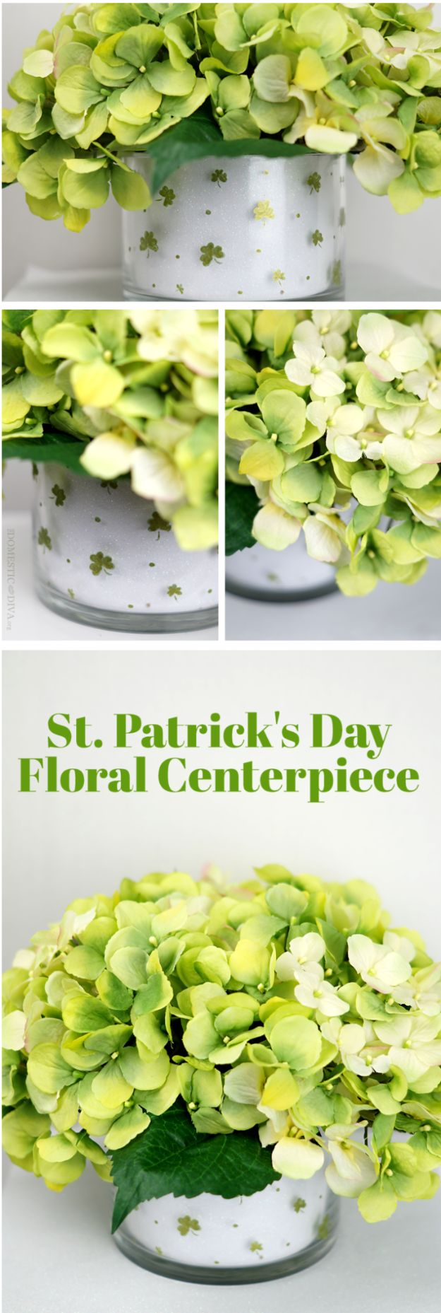 St Patricks Day Decor Ideas - DIY Shamrock Floral Arrangement Centerpiece - DIY St. Patrick's Day Party Decorations and Home Decor Crafts - Projects for Walls, Hanging Banners, Wreaths, Tabletop Centerpieces and Party Favors - Green Shamrocks, Leprechauns and Cute and Easy Do It Yourself Decor For Parties - Cheap Dollar Store Ideas for Those On A Budget http://diyjoy.com/diy-st-patricks-day-decor
