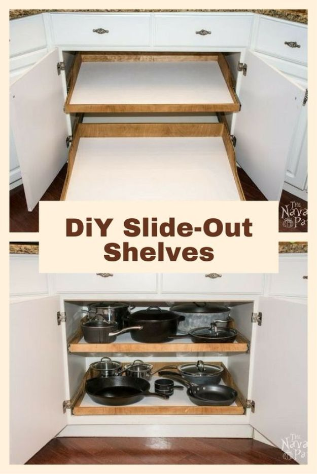 DIY Kitchen Cabinet Ideas - DIY Slide-Out Shelves - Makeover and Before and After - How To Build, Plan and Renovate Your Kitchen Cabinets - Painted, Cheap Refact, Free Plans, Rustic Decor, Farmhouse and Vintage Looks, Modern Design and Inexpensive Budget Friendly Projects