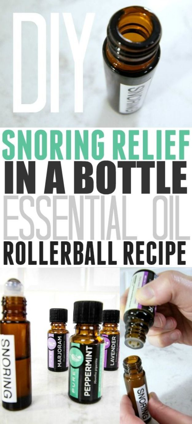 DIY Essential Oil Recipes and Ideas - DIY Snoring Relief In A Bottle - Cool Recipes, Crafts and Home Decor to Make With Essential Oil - Diffuser Projects, Roll On Prodicts for Skin - Recipe Tutorials for Cleaning, Colds, For Sleep, For Hair, For Paint, For Weight Loss http://diyjoy.com/diy-ideas-essential-oils