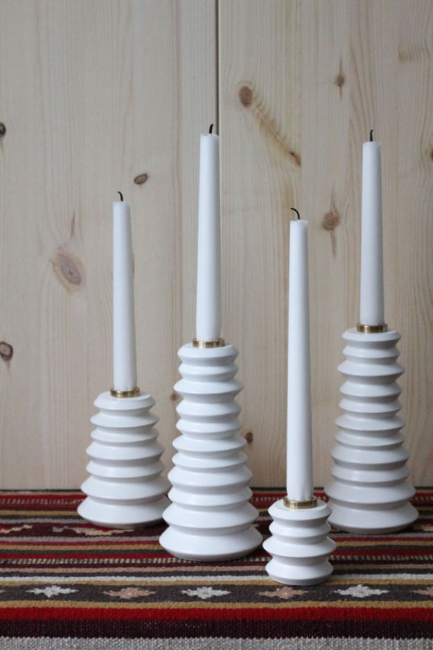 DIY Candle Holders - DIY Sparkling Candlestick - Easy Ideas for Home Decor With Candles, Tall Candlesticks and Votives - Fun Wooden, Rustic, Glass, Mason Jar, Boho and Projects With Items From Dollar Stores - Christmas, Holiday and Wedding Centerpieces - Cool Crafts and Homemade Cheap Gifts http://diyjoy.com/diy-candle-holders