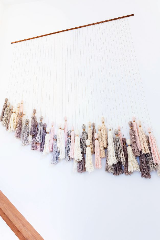 DIY Wall Hangings - DIY Super Easy Tassel Wall Hanging - Easy Yarn Projects , Macrame Ideas , Fabric Tapestry and Paper Arts and Crafts , Planter and Wood Board Ideas for Bedroom and Living Room Decor - Cute Mobile and Wall Hanging for Nursery and Kids Rooms #wallart #diy #roomdecor