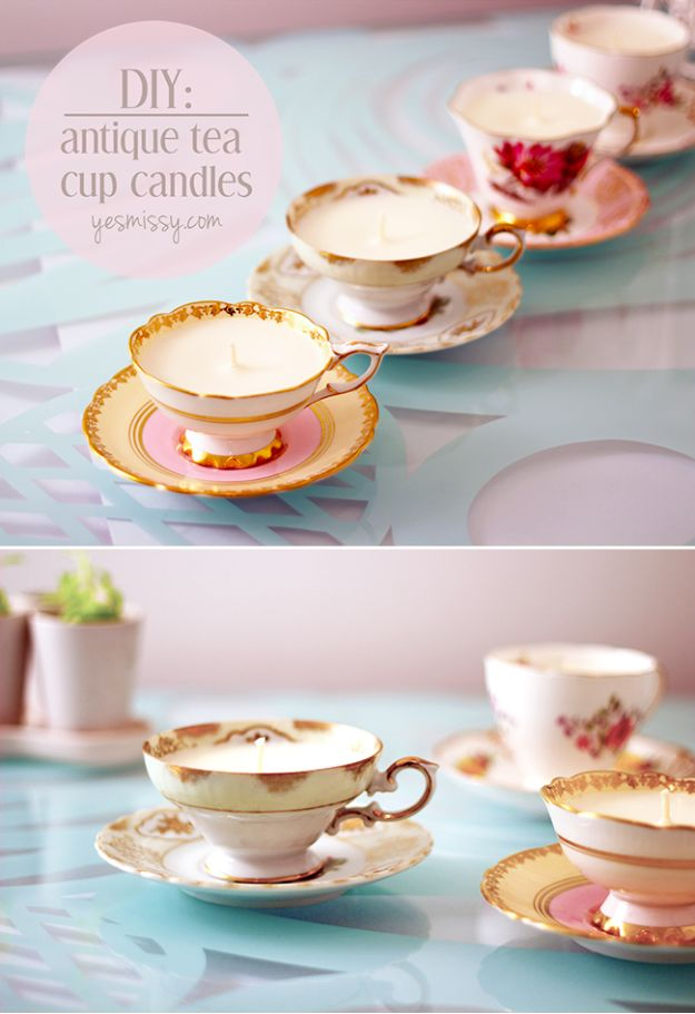 Best Mothers Day Ideas - DIY Teacup Candles - Easy and Cute DIY Projects to Make for Mom - Cool Gifts and Homemade Cards, Gift in A Jar Ideas - Cheap Things You Can Make for Your Mother http://diyjoy.com/diy-mothers-day-ideas