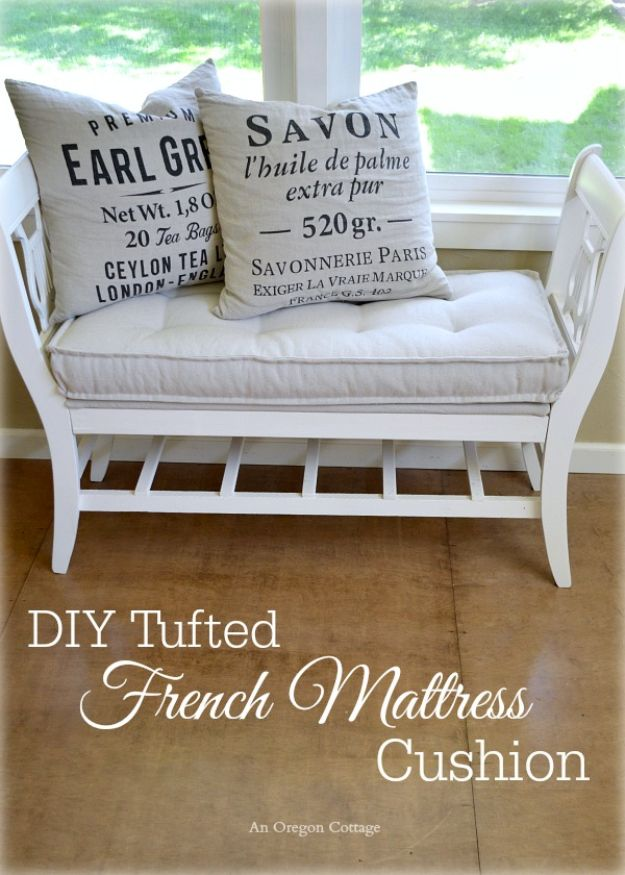 DIY Shabby Chic Decor Ideas - DIY Tufted French Mattress Cushion - French Farmhouse and Vintage White Linens - Bedroom, Living Room, Bathroom Ideas, Distressed Furniture and Boho Crafts - Cheap Dollar Store Projects and Upcycle Repurposed Home Decor http://diyjoy.com/shabby-chic-diy