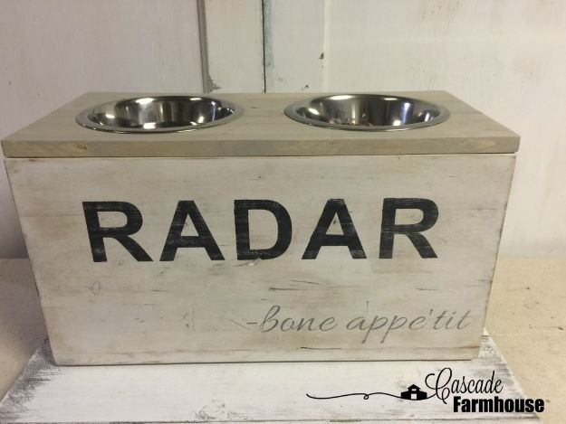 DIY Pet Bowls And Feeding Stations - DIY Vintage Dog Feeding Station Part - Easy Ideas for Serving Dog and Cat Food, Ways to Raise and Store Bowls - Organize Your Dog Food and Water Bowl With These Cute and Creative Ideas for Dogs and Cats- Monogram, Painted, Personalized and Rustic Crafts and Projects http://diyjoy.com/diy-pet-bowls-feeding-station