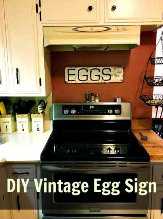DIY Vintage Signs - DIY Vintage Egg Sign - Rustic, Vintage Sign Projects to Make At Home - Creative Home Decor on a Budget and Cheap Crafts for Living Room, Bedroom and Kitchen - Paint Letters, Transfer to Wood, Aged Finishes and Fun Word Stencils and Easy Ideas for Farmhouse Wall Art http://diyjoy.com/diy-vintage-signs