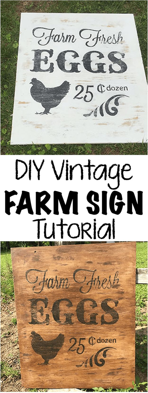 DIY Vintage Signs - DIY Vintage Farm Sign - Rustic, Vintage Sign Projects to Make At Home - Creative Home Decor on a Budget and Cheap Crafts for Living Room, Bedroom and Kitchen - Paint Letters, Transfer to Wood, Aged Finishes and Fun Word Stencils and Easy Ideas for Farmhouse Wall Art http://diyjoy.com/diy-vintage-signs