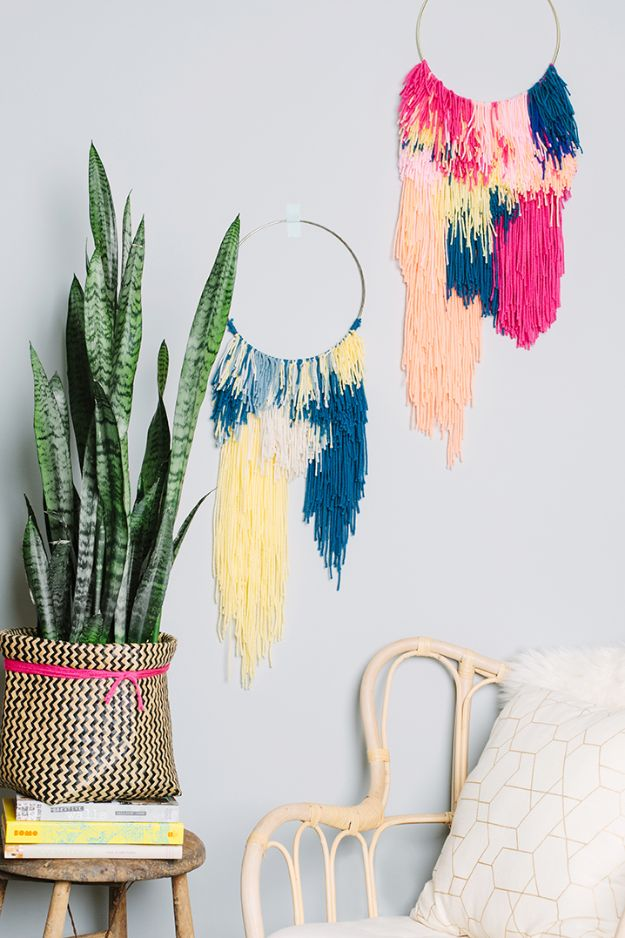 DIY Wall Hangings - DIY Wall Weaving - Easy Yarn Projects , Macrame Ideas , Fabric Tapestry and Paper Arts and Crafts , Planter and Wood Board Ideas for Bedroom and Living Room Decor - Cute Mobile and Wall Hanging for Nursery and Kids Rooms http://diyjoy.com/diy-wall-hangings