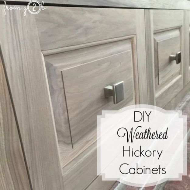 DIY Kitchen Cabinet Ideas - DIY Weathered Hickory Cabinets - Makeover and Before and After - How To Build, Plan and Renovate Your Kitchen Cabinets - Painted, Cheap Refact, Free Plans, Rustic Decor, Farmhouse and Vintage Looks, Modern Design and Inexpensive Budget Friendly Projects http://diyjoy.com/diy-kitchen-cabinets