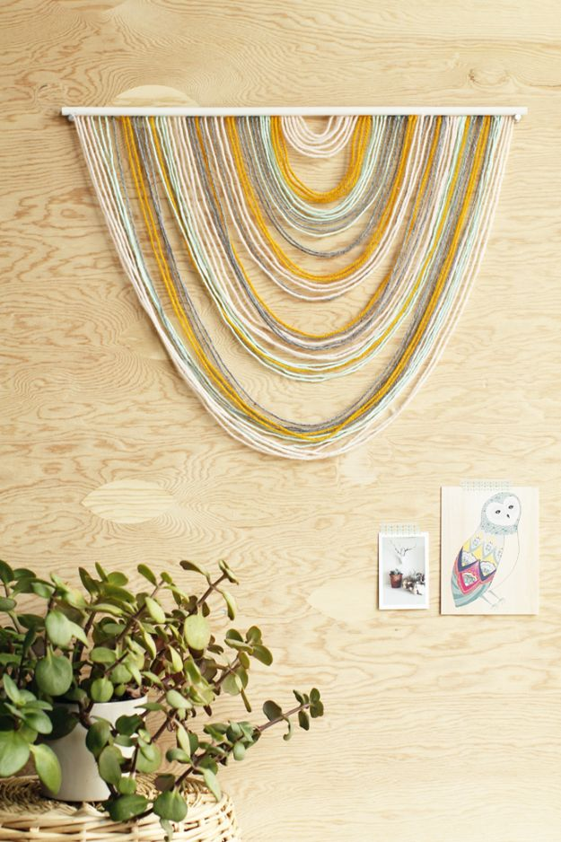 DIY Wall Hangings - DIY Yarn Tapestry - Easy Yarn Projects , Macrame Ideas , Fabric Tapestry and Paper Arts and Crafts , Planter and Wood Board Ideas for Bedroom and Living Room Decor - Cute Mobile and Wall Hanging for Nursery and Kids Rooms #wallart #diy #roomdecor