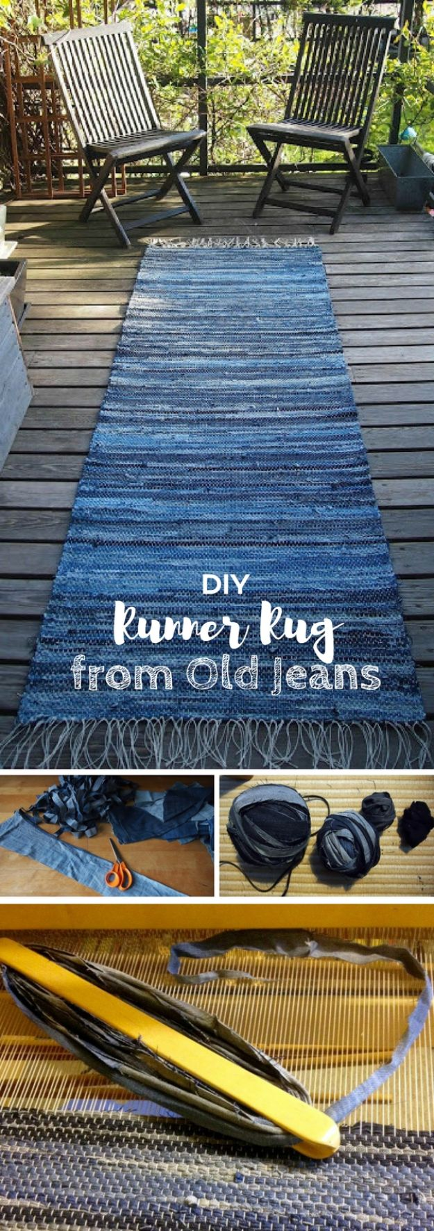 DIY Rugs - Denim Rug From Old Jeans - Ideas for An Easy Handmade Rug for Living Room, Bedroom, Kitchen Mat and Cheap Area Rugs You Can Make - Stencil Art Tutorial, Painting Tips, Fabric, Yarn, Old Denim Jeans, Rope, Tshirt, Pom Pom, Fur, Crochet, Woven and Outdoor Projects - Large and Small Carpet #diyrugs #diyhomedecor