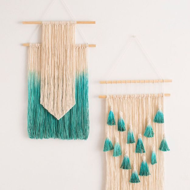 DIY Wall Hangings - Dip Dyed Wall Hanging Kit - Easy Yarn Projects , Macrame Ideas , Fabric Tapestry and Paper Arts and Crafts , Planter and Wood Board Ideas for Bedroom and Living Room Decor - Cute Mobile and Wall Hanging for Nursery and Kids Rooms http://diyjoy.com/diy-wall-hangings