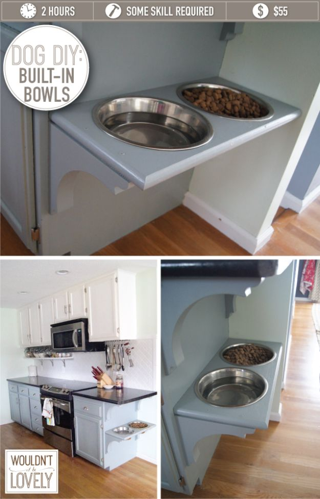 DIY Pet Bowls And Feeding Stations - Dog DIY Built In Bowls - Easy Ideas for Serving Dog and Cat Food, Ways to Raise and Store Bowls - Organize Your Dog Food and Water Bowl With These Cute and Creative Ideas for Dogs and Cats- Monogram, Painted, Personalized and Rustic Crafts and Projects http://diyjoy.com/diy-pet-bowls-feeding-station