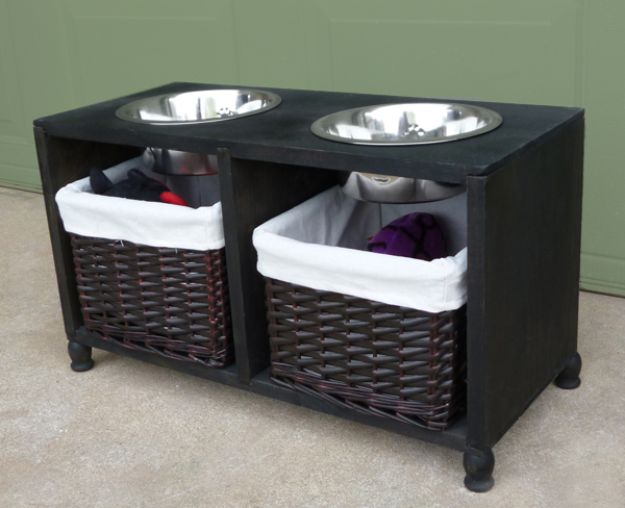 DIY Pet Bowls And Feeding Stations - Dog Feeding Station Tutorial - Easy Ideas for Serving Dog and Cat Food, Ways to Raise and Store Bowls - Organize Your Dog Food and Water Bowl With These Cute and Creative Ideas for Dogs and Cats- Monogram, Painted, Personalized and Rustic Crafts and Projects http://diyjoy.com/diy-pet-bowls-feeding-station