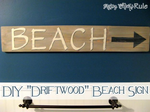 DIY Vintage Signs - Driftwood Sign - Rustic, Vintage Sign Projects to Make At Home - Creative Home Decor on a Budget and Cheap Crafts for Living Room, Bedroom and Kitchen - Paint Letters, Transfer to Wood, Aged Finishes and Fun Word Stencils and Easy Ideas for Farmhouse Wall Art http://diyjoy.com/diy-vintage-signs