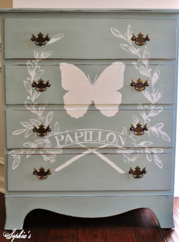 DIY Shabby Chic Decor Ideas - Duck Egg - Butterfly Dresser - French Farmhouse and Vintage White Linens - Bedroom, Living Room, Bathroom Ideas, Distressed Furniture and Boho Crafts - Cheap Dollar Store Projects and Upcycle Repurposed Home Decor #diyideas #shabbychic #diyhomedecor